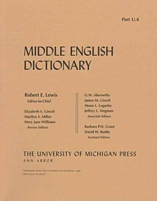 Middle English Dictionary - U.4 (Paperback): Robert E. Lewis
