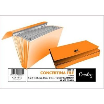Croxley S1612 Foolscap Kraft Quality Concertina File (16 Compartments):