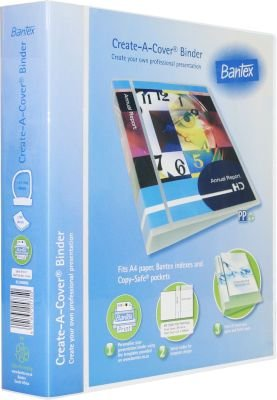 Bantex Create-A-Cover PP Presentation 2 D-Ring Ringbinder (A4)(40mm)(Clear):