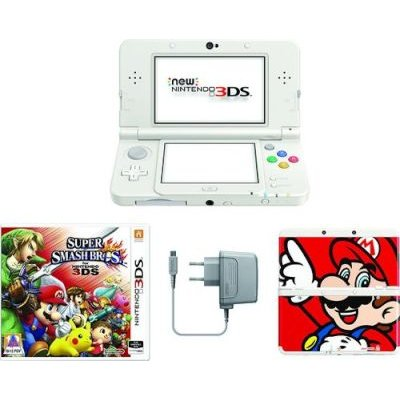 New Nintendo 3DS Console - Power Supply, Super Smash Bros Game & Mario Cover Plate Included (White):