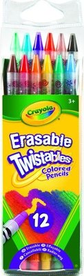 Crayola Erasable Twistable Pencil Crayons (Pack of 12)(Assorted Colours):