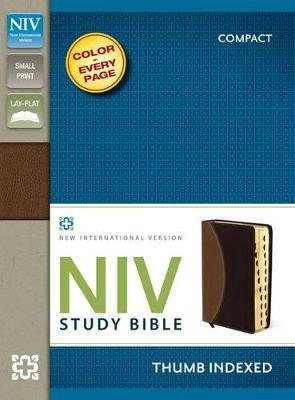 NIV Study Bible, Compact, Imitation Leather, Tan/Burgundy, Indexed, Red Letter Edition (Leather / fine binding, Special...
