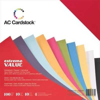 American Crafts Cardstock Value Pack (12x12)(100 Sheets):