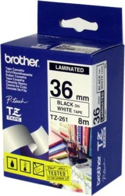 Brother TZ-261 P-Touch Laminated Tape (Black on White )(36mmx8m):