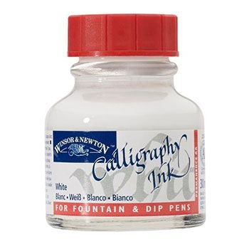 Winsor And Newton Non Waterproof Calligraphy Ink - White (30ml):