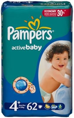 Pampers Active Baby Dry Maxi Plus (Size 4+ | 62):