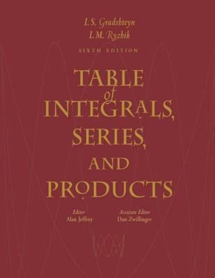 Table of Integrals, Series, and Products (Electronic book text, 6th ed.): Alan Jeffrey