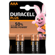 Duracell Plus Power AAA Alkaline Batteries with Duralock (4 Pack):