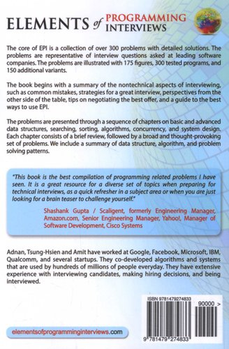 Elements Of Programming Interviews The Insiders Guide Paperback
