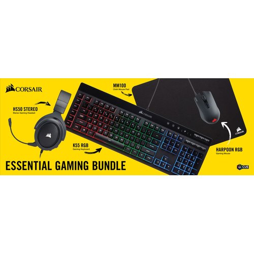 Corsair Essential HS50 Stereo Headset, K55 RGB Keyboard