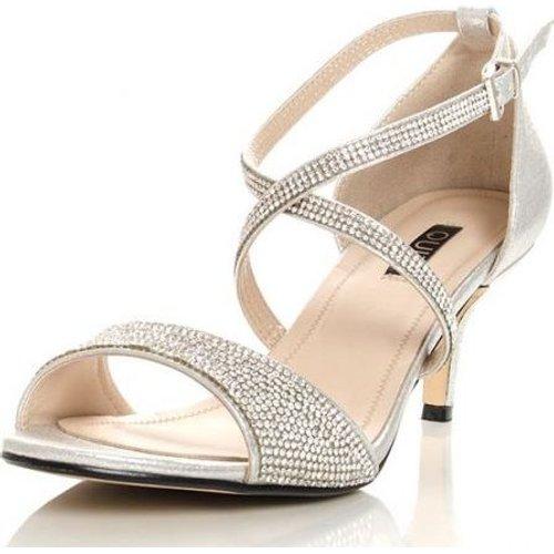b025274101e Quiz Women Shimmer Diamante Low Heel Sandals (Silver)   Fashion ...