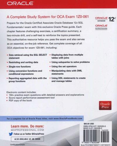 OCA Oracle Database 12c SQL Fundamentals I Exam Guide (Exam