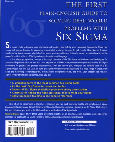 Statistics For Six Sigma Made Easy! (Paperback): Warren