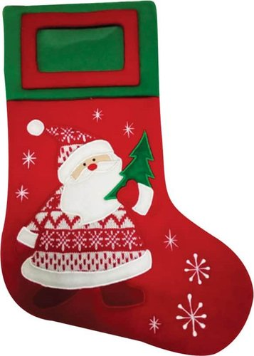 Christmas Stocking Fleece Red With Embroided Santa Frame 52cm
