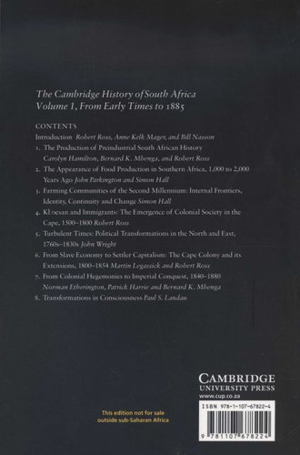The Cambridge History Of South Africa Volume 1 (Paperback