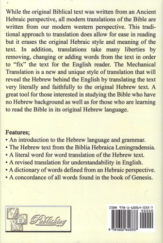 A Mechanical Translation of the Book of Genesis - The Hebrew Text