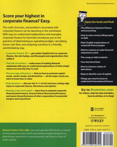 Corporate Finance For Dummies (Paperback, New): Michael Taillard