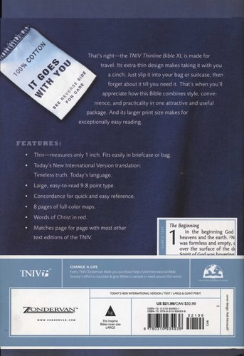 TNIV Thinline Bible XL (Large print, Hardcover, Large Print