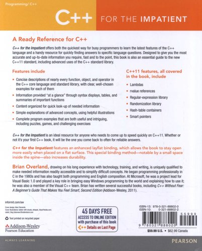 C++ for the Impatient (Paperback, New): Brian Overland