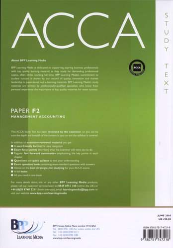 Acca Paper F2 - Management Accounting (Paperback, Revised