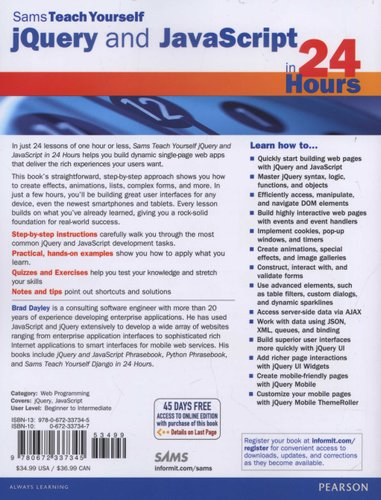 jQuery and JavaScript in 24 Hours (Paperback): Brad Dayley