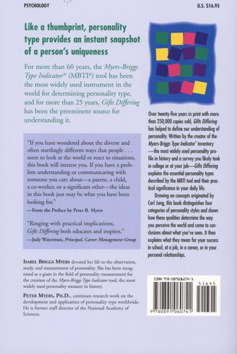 Gifts Differing - Understanding Personality Type - The original book