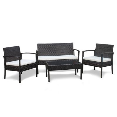 Fine Living Rattan Miami Patio Furniture Set (4 Piece ... on Fine Living Patio Set id=66635