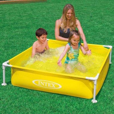 Intex mini frame pool 122x122x30cm yellow outdoor - Intex swimming pool accessories south africa ...